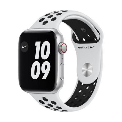 ساعة أبل اصدار نايك اس اي ، مقاس 44 ملم، جي بي إس مع خاصية الإتصال، ألمنيوم فضي، مع سوار أسود