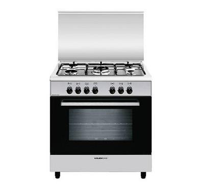 Glemgas 80 x 50 cm Gas Cooker, Full Safety, Closed door grill, Stainless Steel