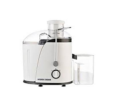Black and Decker Juice Extractor 400w with Wide Chute, 2 Speed, 1.3L Pulp Container,White