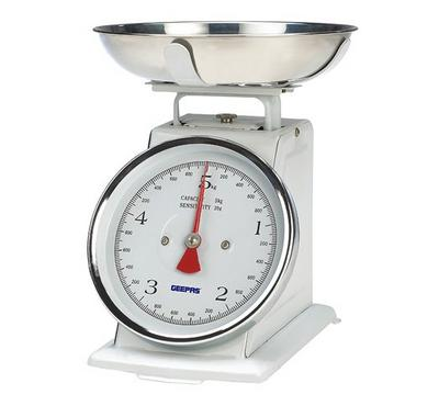 Geepas Kitchen Scale, 5kg Capacity, Stainless Steel Bowl,White