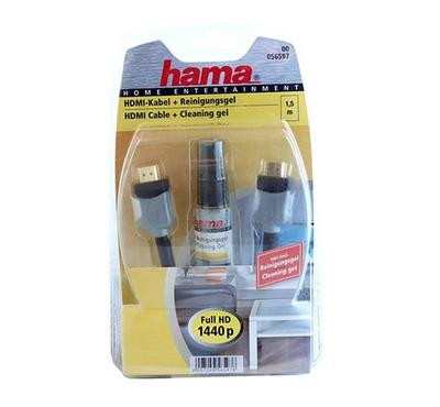 Hama 1.5M HDMI-HDMI Cable + LCD/LED Cleaning Spray Black