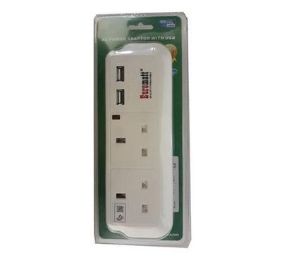 Euro-Matt Adapter,2 UK Socket with 2 USB
