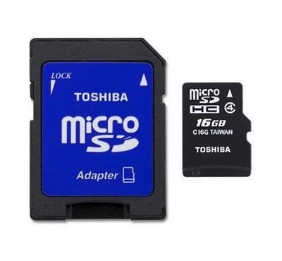Toshiba High Speed 16GB MIcroSD Card Class 4 with Adapter