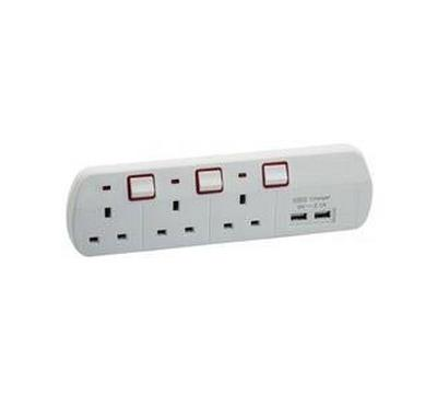 Datazone Power Socket 3Way 2 USB 2.1A 5V 2M
