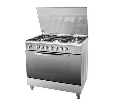 Indesit 90x60 Gas Range Cooker, 5 Burners, Full Safety,Steel