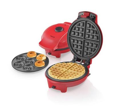 Saachi 2 in 1 Doughnut & Waffle Maker, 7 pcs donut, 4 pcs waffle,Red