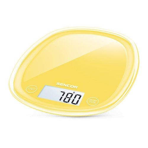Sencor PASTELS COLLECTION 5kg Digital Kitchen Scale Yellow. 4 Sensors, Large LCD Display