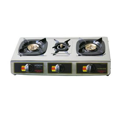 Hitachi Gas Cooker 3 Burners, Stainless steel