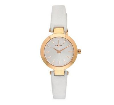DKNY Ladies Classic Stanhope Watch White Leather Strap