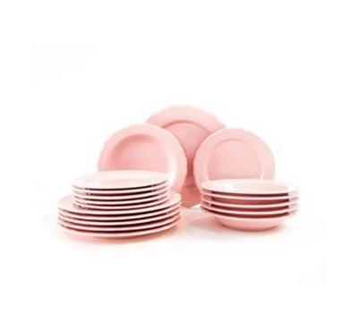 La Mesa Dinner Set 18Pcs, Serve 6 Persons, Color Pink