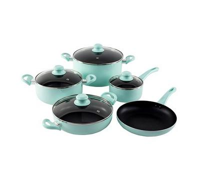 Alberto Cookware Set With Glass Lid Non Stick 9Pcs Set Green