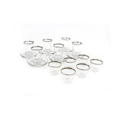 Akbay 18 Pcs of Tea Glass and Sauceres With CawaCups Silver Rim 3