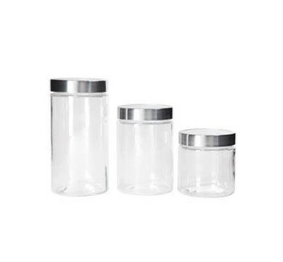Alberto 3Pcs Glass Storage Canisters With Acrylic Transparent Lid