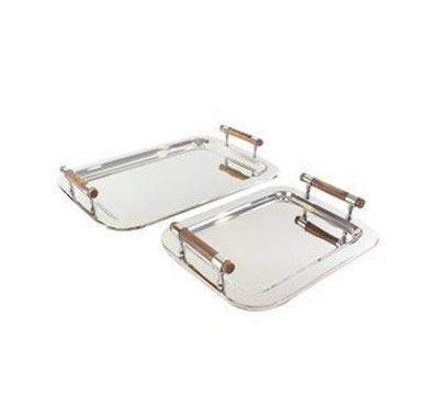 ALa Mode Set of Two Rectangle Serving Tray w/ Round Wood Handle Silver Mirror Finish