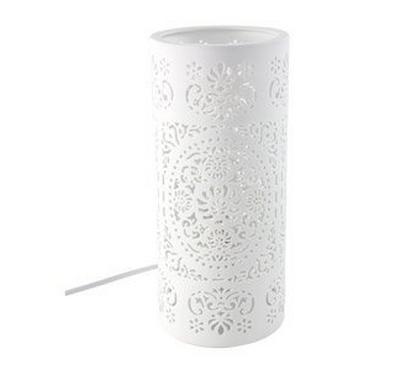 Table Lamp Cylindar Shape Ceramic White 2 Asst. Designs