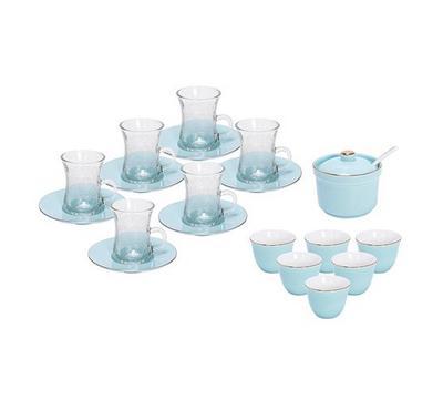Zokhruf, 21Pcs Of Arabic Tea Glass And Porcelain Saucer And Cawa Cups Design, Blue Basic