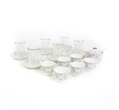 Zokhruf 21 Pcs of Arabic Tea Glass & Porcelain Saucer & Cawa Cups  Design Silver 1