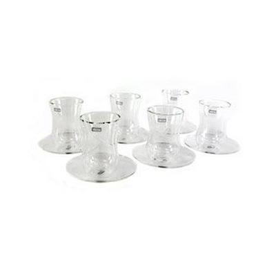 Zokhruf 21 Pcs of Arabic Tea Glass & Porcelain Saucer & Cawa Cups  Design Silver 1