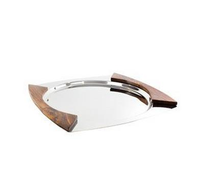 ALa Mode Round Marco Serving Tray w/ Wood Handle Silver Mirror Finish