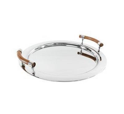 صينية تقديم دائريه الشكل مع مقبض خشبي