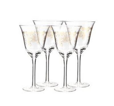 Zokhruf Clear Wine Set 4Pcs, With Gold Decal