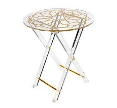 Set of 4 Acrylic Round Tables With Stand Ashkal Gold