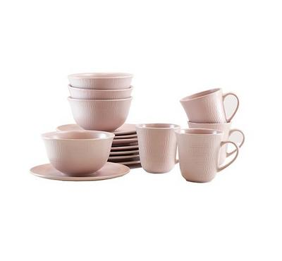 La Mesa Embosed Dinner Set, 16Pcs, Stoneware, Matt Pink