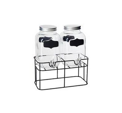 Alberto 2Pcs Glass Juice Dispenser w/ Stand & Metal Lid & Silver Taps