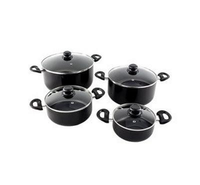 ALBERTO nonstick cookware setw/glass lid 8pcs set,Black