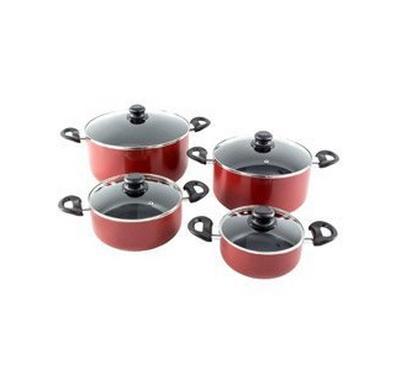 ALBERTO nonstick cookware setw/glass lid 8pcs setRed