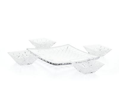 Square bowls on tray 5 pc set