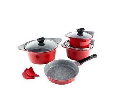 Alberto Cookware Set Of 7Pcs, Aluminium, Red