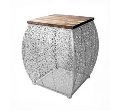 Nice Home Accent Stool Metal, Silver