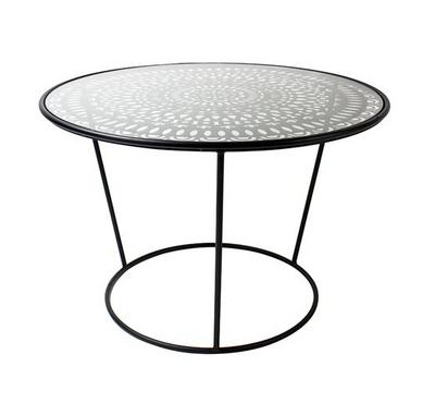 طاولة جانبية معدنية دائرية الشكل