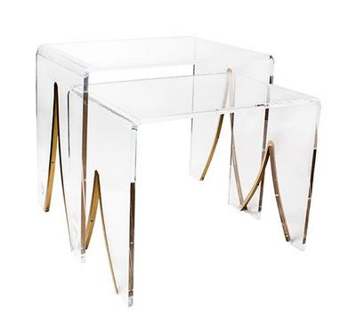 Nice Side Table All Clear Acrylic Small, Set of 2 Pcs