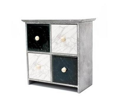 Cabinet with Marble Design MDF, White&Black, 4Drawers