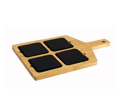 شيف كلاسيك لوح تقديم مربع مع 4 حجر وخيزران