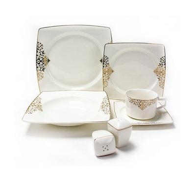 La Mesa Dinner Set of 32pcs Bone Porcelain Squre Serve 6 Persons