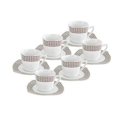 نايس طقم قهوة تركي بورسلان 12 قطعة لون أبيض