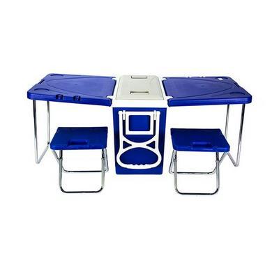 نايس صندوق تبريد سعة 28 لتر مع طاولة للتخييم بيد وعجل سهلة النقل