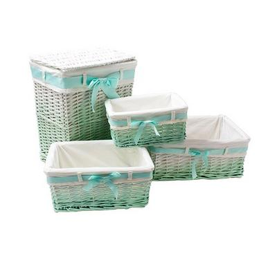 Nice Laundry Hamper Set of 4pcs Willow Green Color
