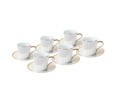 طقم شاي من دولسى بورسلين 12 قطعة أبيض