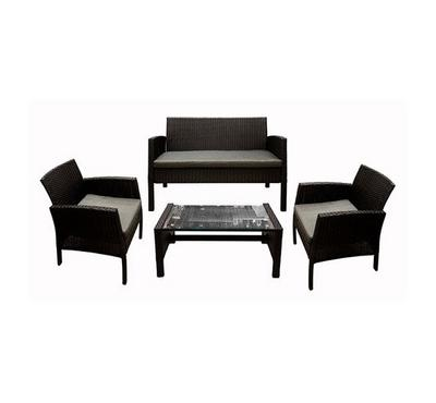 Patio Set Of 4Pcs Made Of Steel & Rattan, Black Color