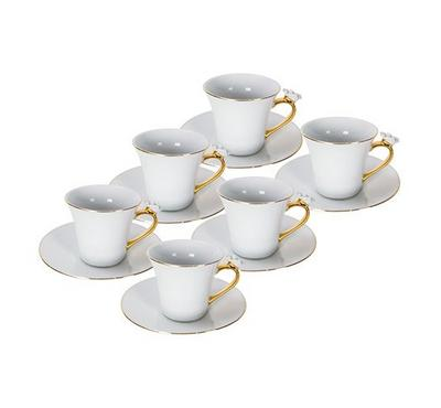 طقم قهوة بورسلين من دولسى 12 قطعة أبيض