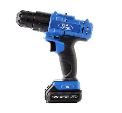 Ford 12V Cordless Drill, 2 Li-Iin Batteries,battery level indicator, Soft, Grip Handle
