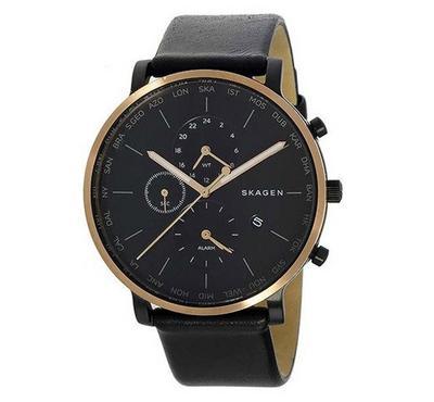 Skagen Men Leather Black Watch
