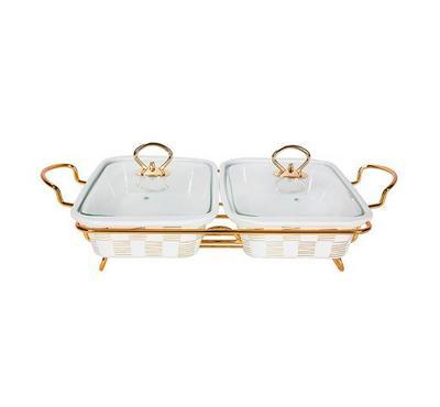 La Mesa Casserole Porcelain, Twin Rect, Warmer, Size 33Cm