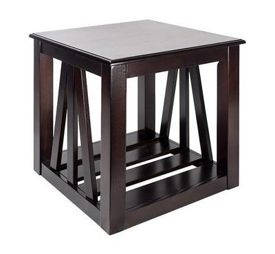 طاولة جانبية من الخشب لون بنى غامق