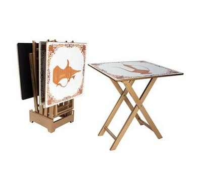 Wooden Serving Set Of 4Pcs, Square Tables, With Stand