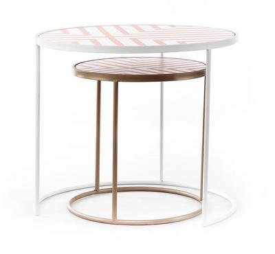 Side Table Set Of 2Pcs, Metal, Gold